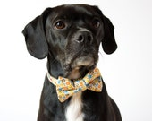 Yellow Floral Dog Bow Tie Collar