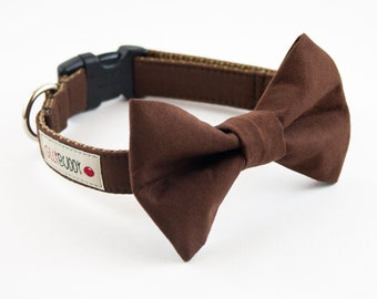 Solid Brown Dog Bowtie Collar