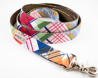 Nautical Patchwork Plaid Dog Leash