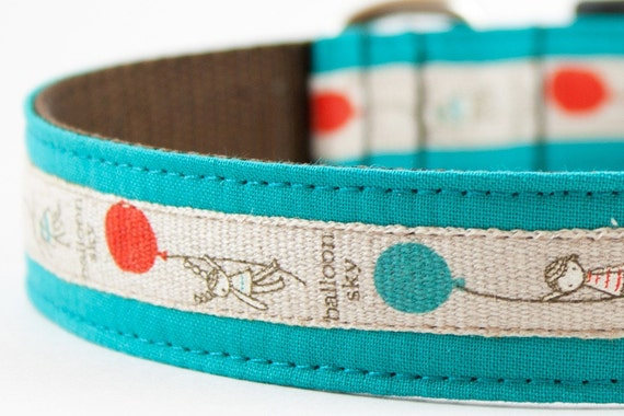 Balloon Sky Aqua Blue Dog Collar