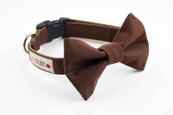 Solid Brown Dog Bowtie Collar