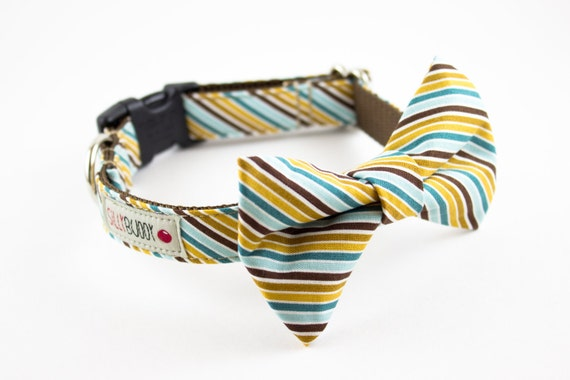 Teal Mustard Preppy Stripes Bow Tie Dog Collar