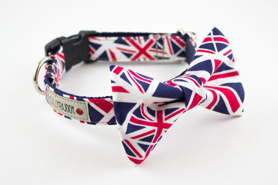 Union Jack Dog Bowtie Collar
