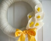 Yarn Wreath Calla Lilly 10""