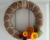 Yarn Wreath Ginger Spice Fall Colors 14 inch