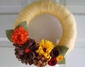 Yarn Wreath Fancy Fall Colors 10 inch