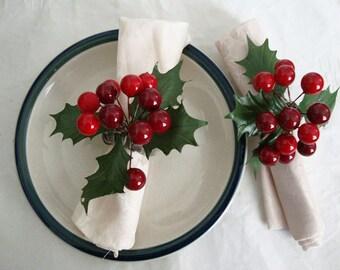 Holly Berry Seasonal Napkin Rings