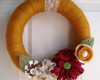Yarn Wreath Sienna 12 inch