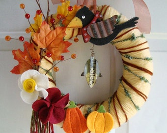 "Yarn Wreath Fall Decor 14"""