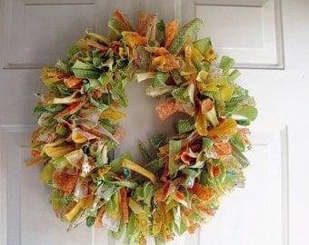 "Tattered Fabric Rag Wreath Spring Greens 18"""