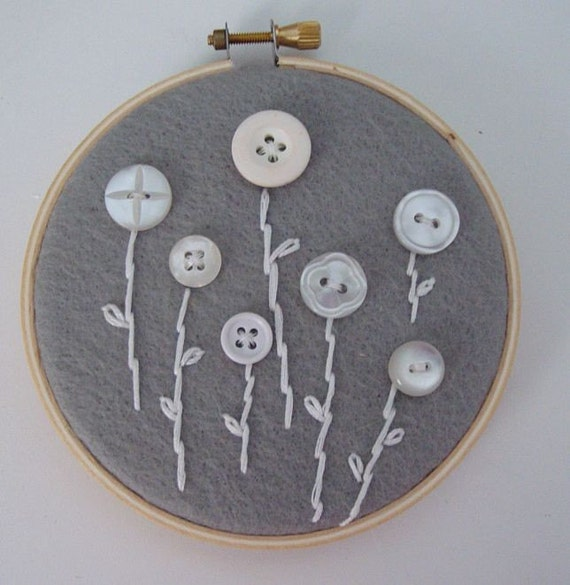 2 hand embroidered simple white flowers wall hoop art