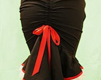 Cute black fishtail skirt,double frill and ruched back seam,ties with Valentine red ribbon,Cotton Broderie Anglaise Lace Trim, Scallop Edge