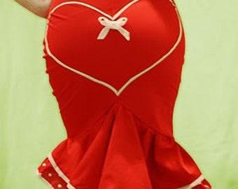 Cute Red fishtail skirt, Pin-Up, Red & White Polka dot double frill skirt,Heart skirt, Valentine, Wiggle Skirt,Retro, Senorita, Sizes XS-XL