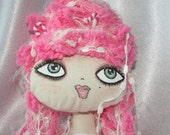 "Doll - Cupcake Cloth Art Rag Doll - ""Candy Cane Lane"""