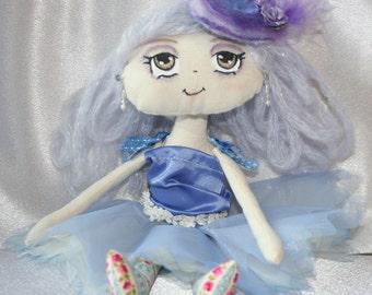 "Doll - Cupcake Cloth Art Doll - ""Blueberry Bliss"""