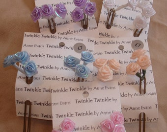 Hairpins Irridescent Ribbon Roses - Set of 6 hairpins