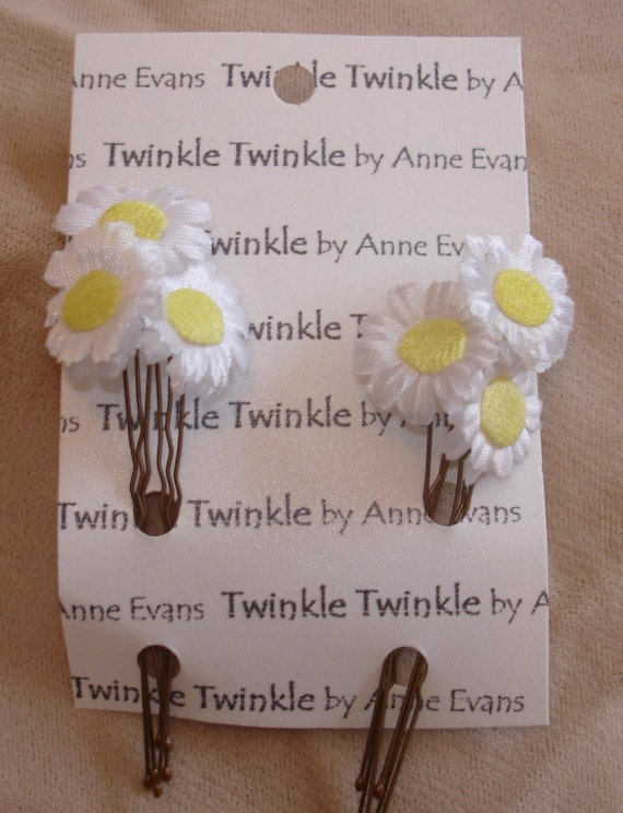 Hairpins White Daisies - set of 6