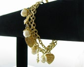 Vintage Heart and Pearls Charm Bracelet