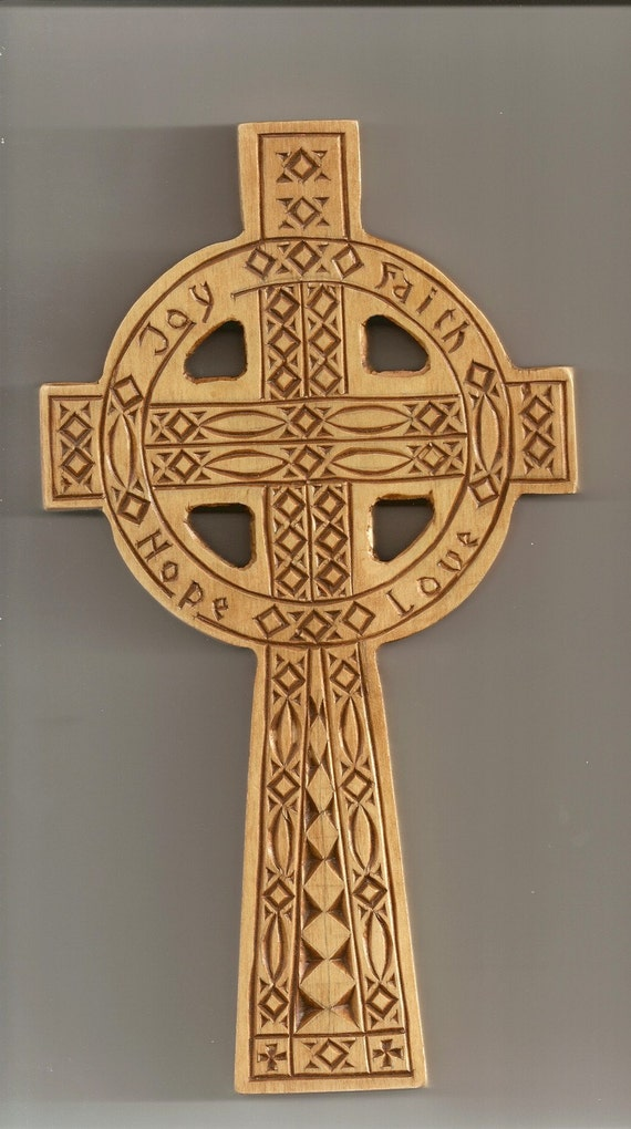 Chip carved celtic cross w joy faith hope and by