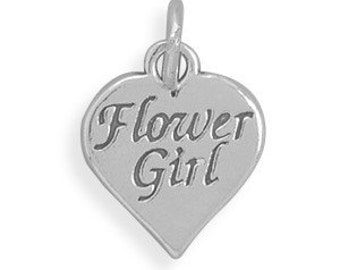 Oxidized Flower Girl Charm, Sterling Silver Nr  73892