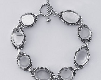 Sterling Silver Bracelet Mounting with Toggle 7inch