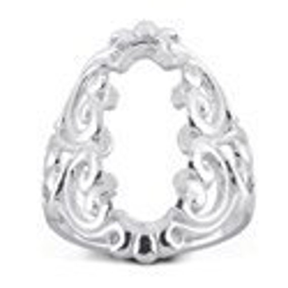 925 Sterling Silver 22 x 8mm Oval Cabochon Ring Mounting