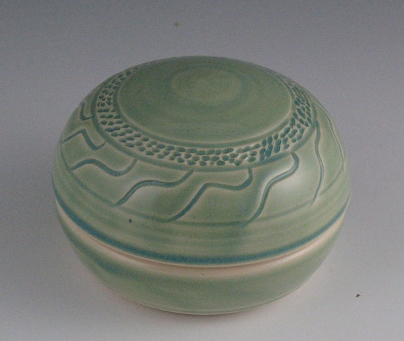 Pottery Green Lidded Jar handmade