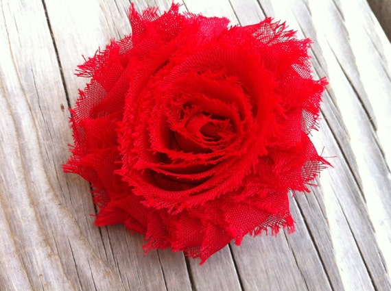 Red Shabby Chic Chiffon Flower Hair Clip