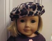 American Girl Doll Faux Fur Beret Hat in Leopard
