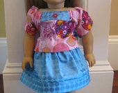 American Girl Doll 2-Piece Skirt Outfit Pink and Blue Peace Signs