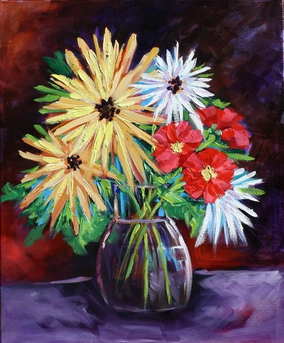 Art, Oil Painting, original Abstract, Still Life, Floral Oil Painting, Original Flowers on Canvas by Rebecca Beal on Sale