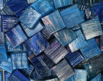 Deep Blue Glass Mosaic Tile 3/4 x 3/4 Italian glass 25 pcs