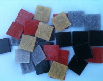 SALE Dark Mix Black and Red Mosaic Glass Tiles 25 pcs (5b)
