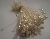 10 Vintage Pearl Millinery Stamens