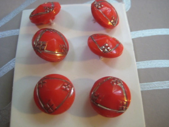 "Vintage Red Glass Buttons """"""SALE"""""""