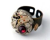 Garnet & Vintage Watch Movement Steampunk Inspired Unisex Ring