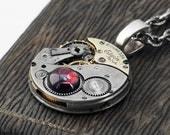 Steampunk Necklace, Garnet & Vintage Elgin Watch Movement - Long Chain Necklace