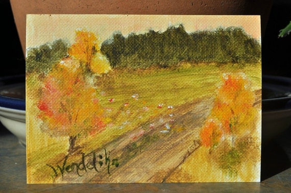 Turning Point ACEO ATC original miniature oil painting