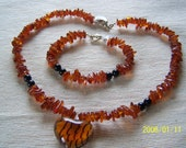 Genuine Amber Chips with Glass Zebra Animal Print Heart Pendant Clearance HALF OFF
