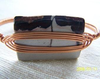 Copper Wire Wrapped Jasper Bangle Bracelet Clearance Sale