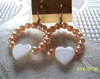 Heart Shape Mother of Pearl Shell Earrings Summer Clearance Sale 30% off