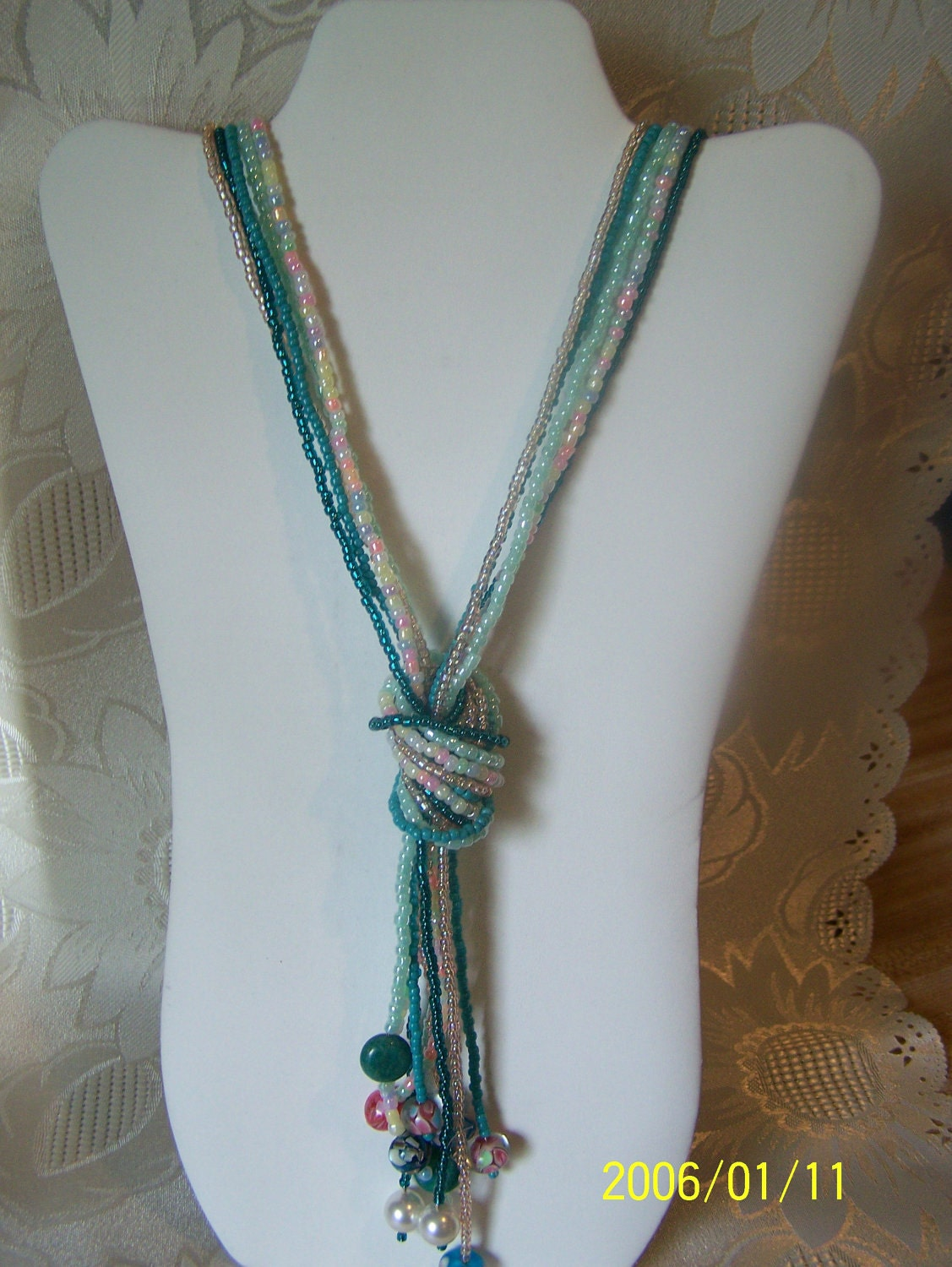 Long Lariat Multi Strand Seed Bead Necklace Summer Clearance