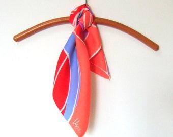 Vera Neumann Scarf Bright Red Salmon Purple Blue Vintage Abstract Design