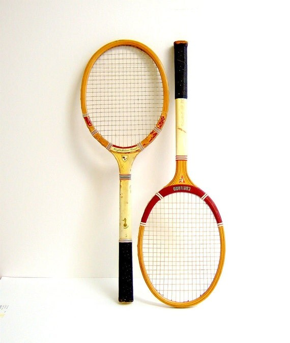 Two Vintage Wooden Tennis Rackets Wright Ditson Comet and Cortland Pacemaker
