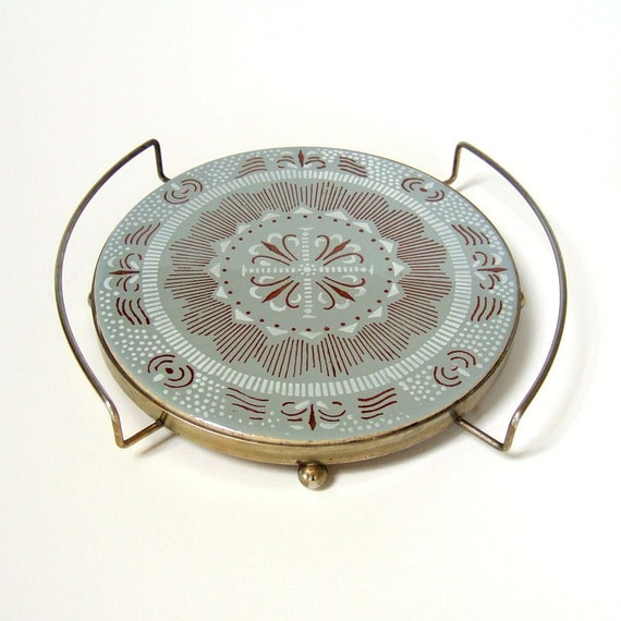 Round Trivet, Tile with Metal Tray, Scandinavian Grey Brown, Nasco