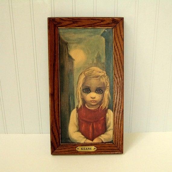 Keane Painting Framed Art Print in Rare Original Frame, Titled Rejected, 1962 Big Eye Painting