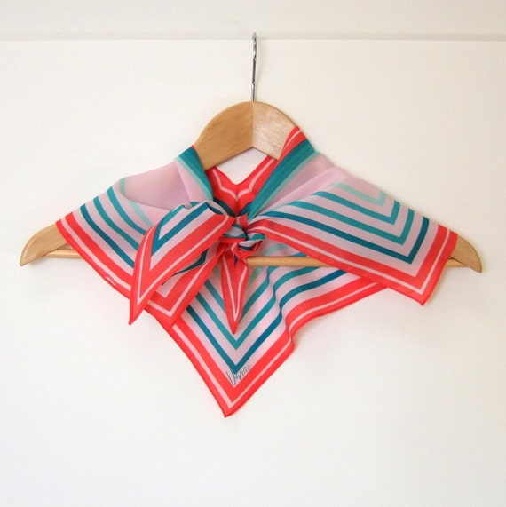 Vera Neumann Spring Fashion Wing Tip Scarf Pink and Teal Stripe