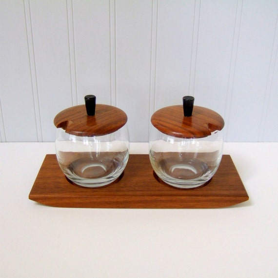 Condiment Set, Walnut Wood and Glass, Mid Century Modern Danish Style Design