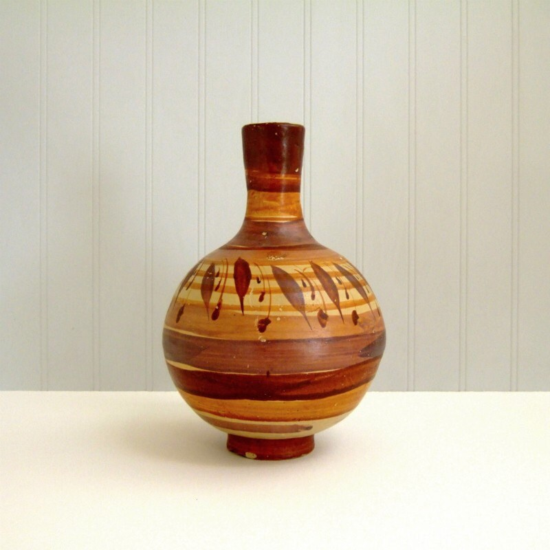Mexican Pottery Vintage Art Pottery Water Vase Jug Hand