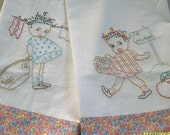 Little Girls Hand Embroidered Dish Towels, Set of 2 - Hand Towel, Tea Towel